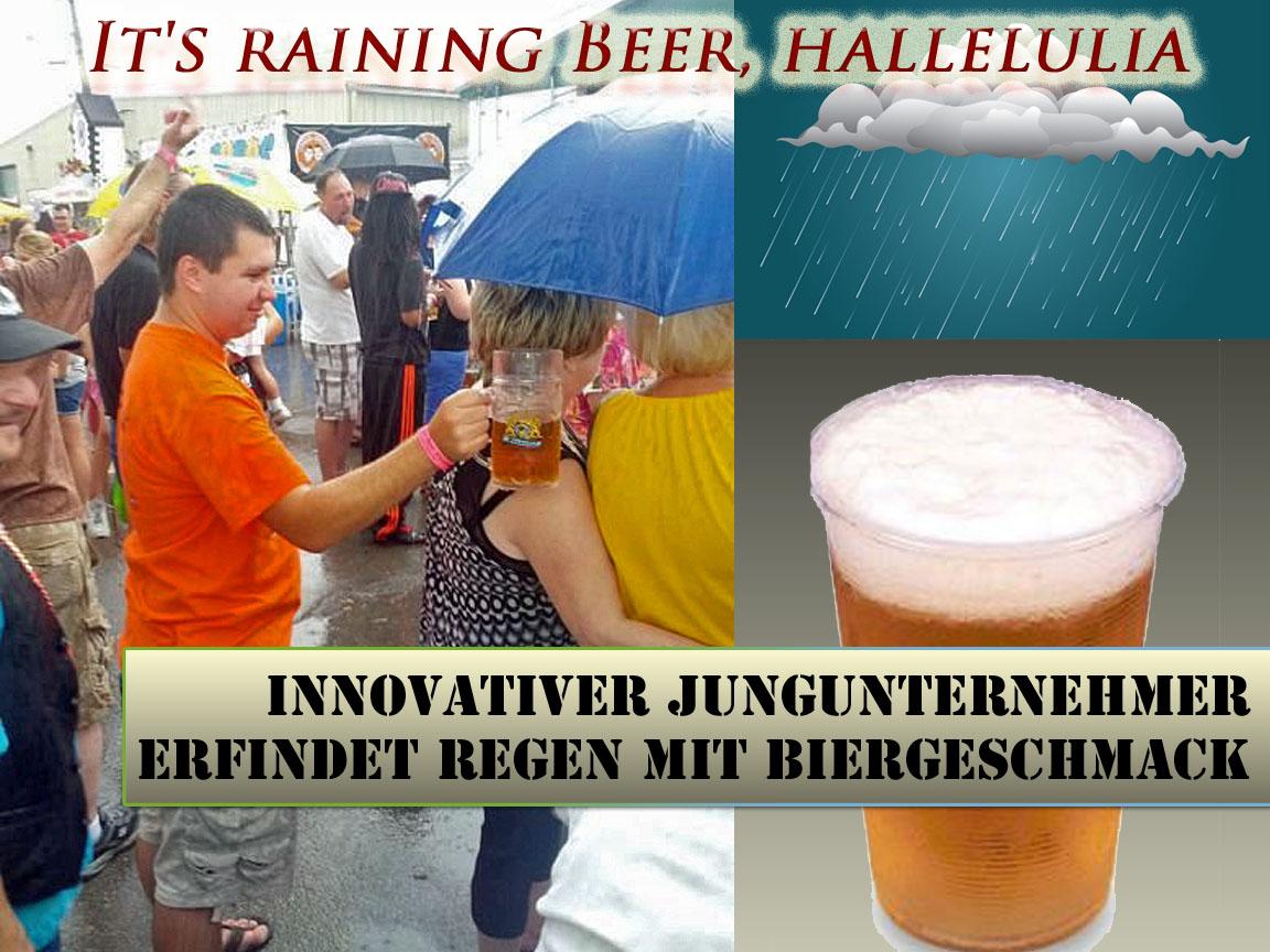 Innovativer Erfinder lässt Bier vom Himmel regnen lustige Satire Bilder mit Text