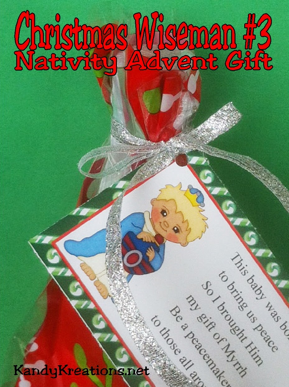 This Nativity Advent Calendar is a wonderful neighbor gift idea this Christmas.  Each day, wrap up the candy, add the poem and tag free printable, and give a gift that will bring Christ back into Christmas. Day 7 is the third wise man bringing his gift of Myrrh to the peacemaker and conquerer, Jesus Christ.
