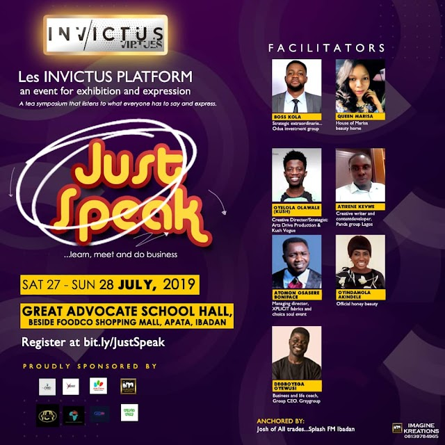 "Event: Invictus Virtues sets to host an entrepreneur Seminar tagged ""Just Speak1.0"""