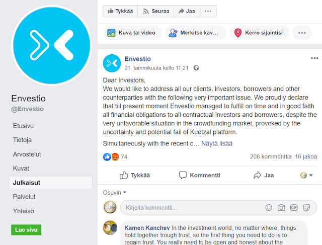 Envestio facebook scam