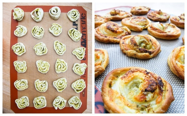 Making vegan pesto cheese swirls - step 4 -  Swirls on baking sheet before and after bake
