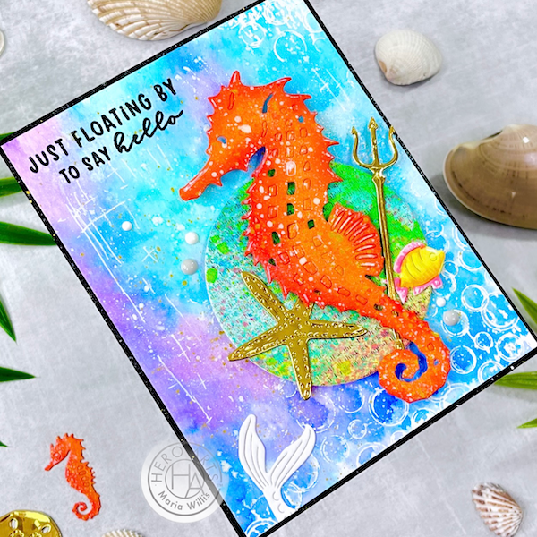 Cardbomb, Maria Willis, Hero Arts, cards, cardmaking, stamps, stamping, ink, paper, papercraft, art, diy, color, watercolor, shells, seahorse, summer