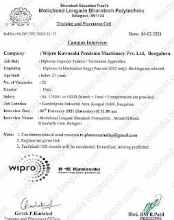 Diploma Job Campus Placement For Wipro Kawasaki Precision Machinery Pvt. Ltd,  Bengaluru