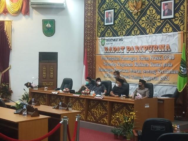 Rapat Paripurna Pandangan Umum Fraksi Terhadap Penjelasan Walikota Pada Ranperda Perubahan APBD TA 2021