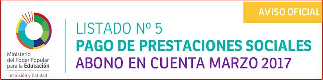 Resultado de imagen para LISTADO Nº 5 PAGO DE PRESTACIONES SOCIALES ABONO EN CUENTA MARZO 2017