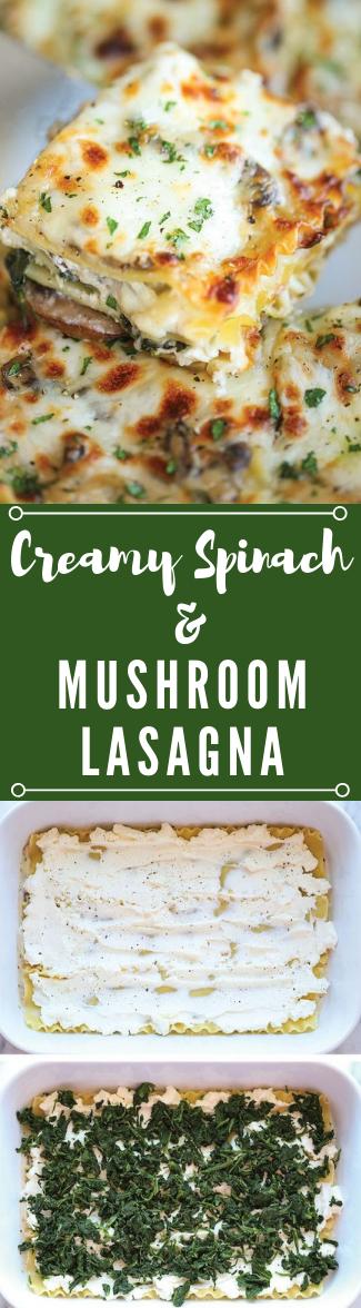 CREAMY SPINACH AND MUSHROOM LASAGNA #lasagna #vegan #vegetarian #dinner #mushroom