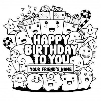 Gambar doodle happy birthday