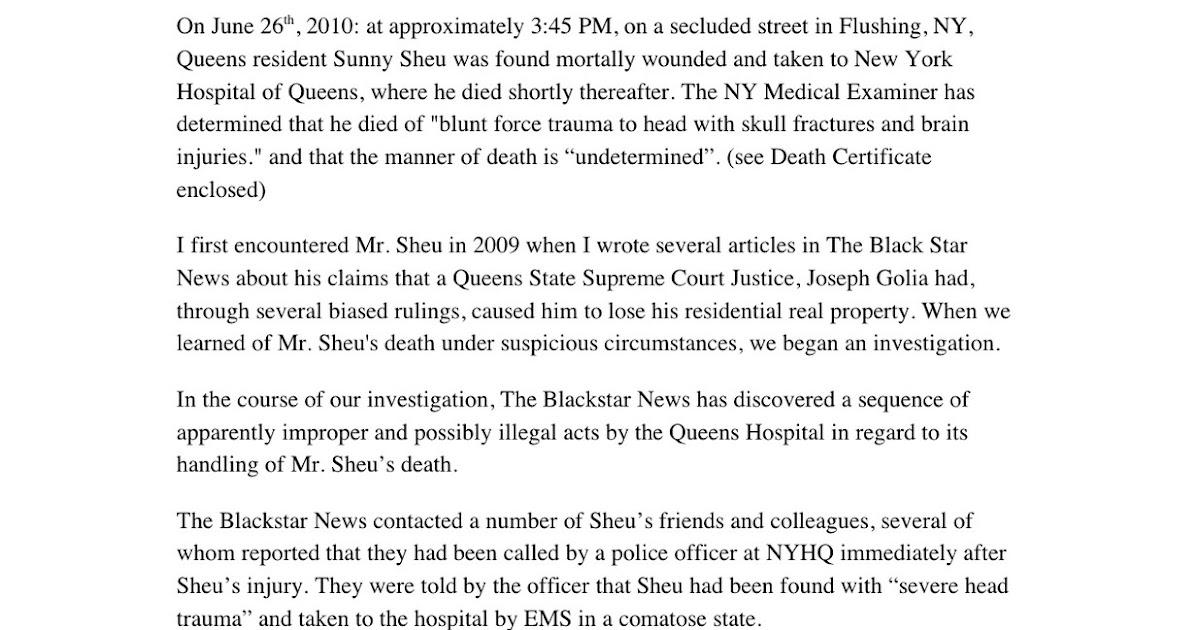 The Murder of Sunny Sheu: Black Star News Letter to New York