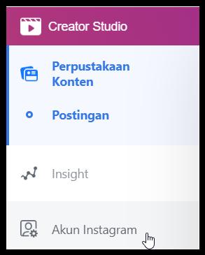 Akun Instagram di Creator Studio