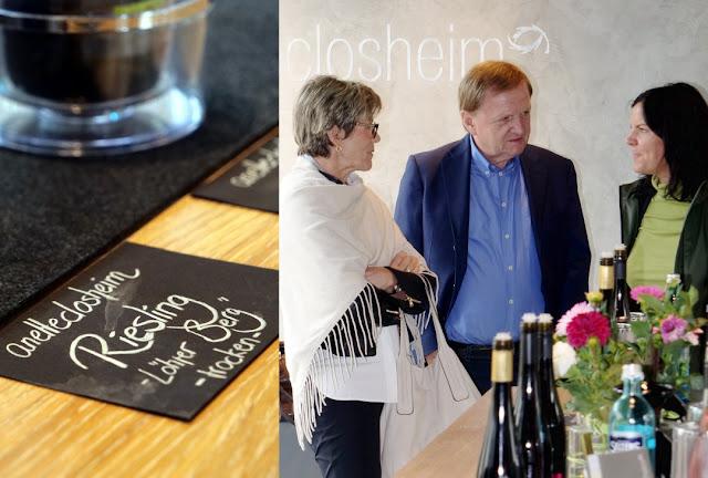 Weinfreunde in der Die Vinothek des Weingutes Closheim in Langenlonsheim an der Nahe.