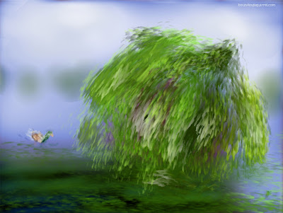 Digital painting of a weeping willow by a river, with a duck.