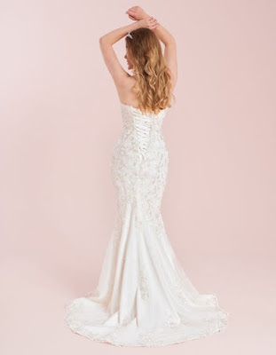 Costantina- a romantic contemporay fishtail champagne-ivory color  wedding dress back side