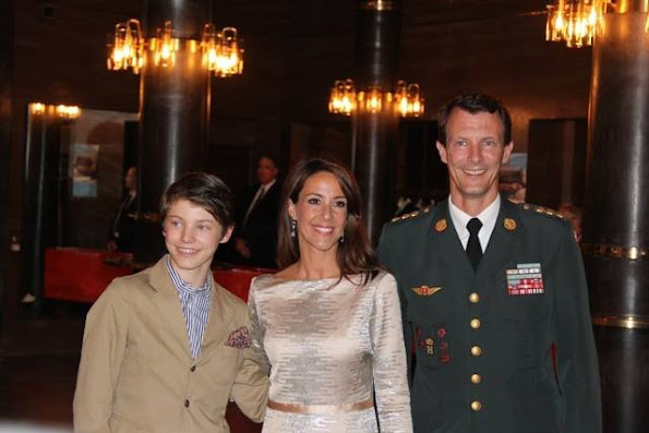Queen Margrethe, Crown Prince Frederik with his children Prince Christian and Princess Isabella, Prince Joachim, his son Prince Felix and Princess Marie at unveiling of sculpture at Royal Theatre