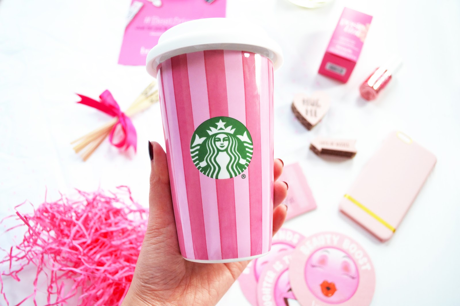 benefit and starbucks pink cup