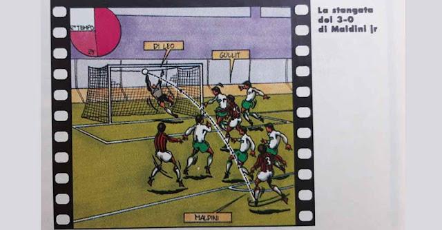 vignetta calcistica si paolo sabellucci sul primo gol di Paolo Maldini