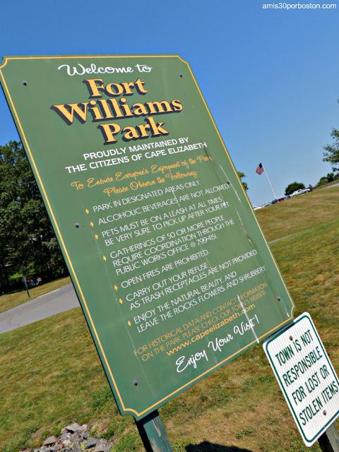 Cartel de Bienvenida del Fort Williams Park