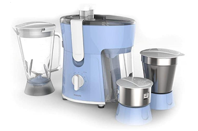Philips Amaze 600-Watt Juicer Mixer Grinder with 3 Jars for Maximum Juicing, Superior Mixing and Grinding