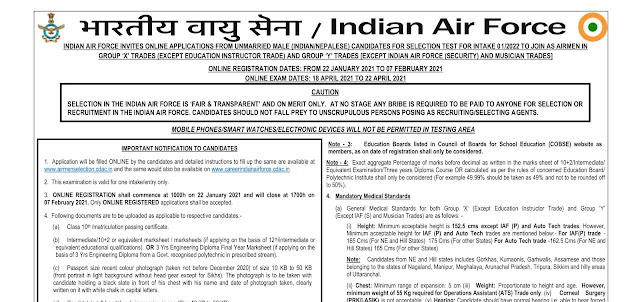 Indian Air Force Airmen Recruitment 2021 Apply for Group X and Group Y Trades