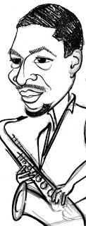John Coltrane caricature sketch by IDB