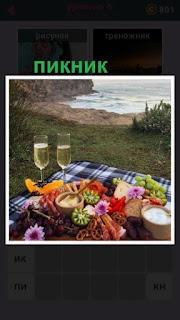 на берегу водоема лежит скатерть и продукты для пикника