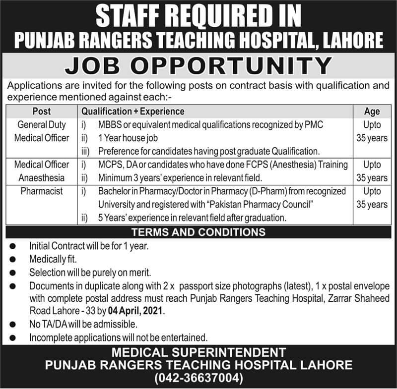 Punjab Rangers Teaching Hospital Lahore Jobs 2021 Advertisement