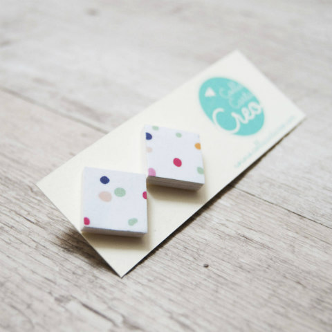 square polka dot paper post earrings