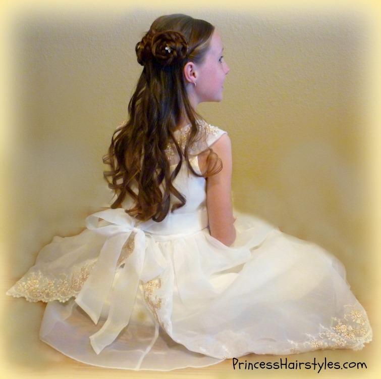 Enjoyable Half Up Rosette Buns Flower Girl Hairstyles Hairstyles For Short Hairstyles Gunalazisus