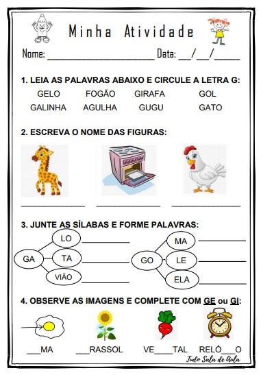 ATIVIDADE EDUCAÇÃO INFANTIL LETRA G
