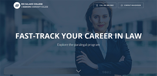 Snapshot from Rio Salado's Paralegal web page.  Image of a woman smiling at camera.  Text: Fast-Track Your Career in Law.  Explore the paralegal program.  Rio Salado College logo