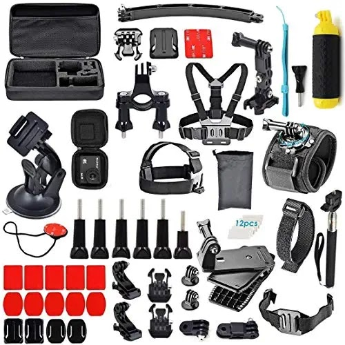 Best Action Camera shooting Accessories Kit Compatible for GoPro, Sony Action Cam, Nikon, Garmin, Ricoh Action Cam, SJCAM, iPhone and Android | Epic Photo Shooting (61 in 1)