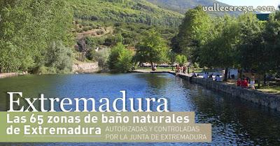 Las 65 zonas de baño naturales de Extremadura