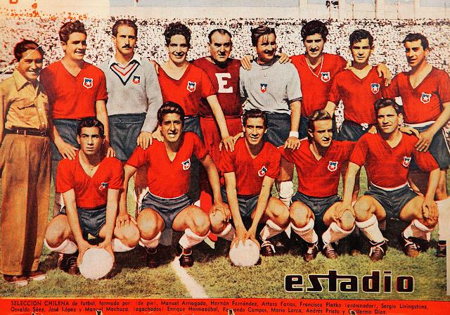 Formación de Chile ante Bolivia, amistoso disputado el 12 de marzo de 1950