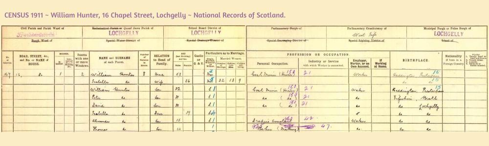 Census 1911 16 Chapel Street Lochgelly Fife