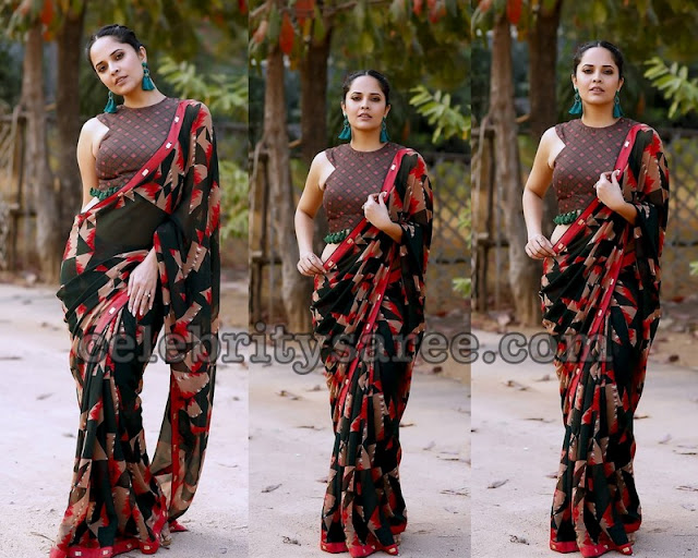 Anasuya Black and Red Chiffon Saree