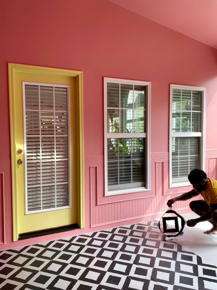 Our Porch Refresh: The Power Of Paint-floor stenciling in progress-designaddictmom