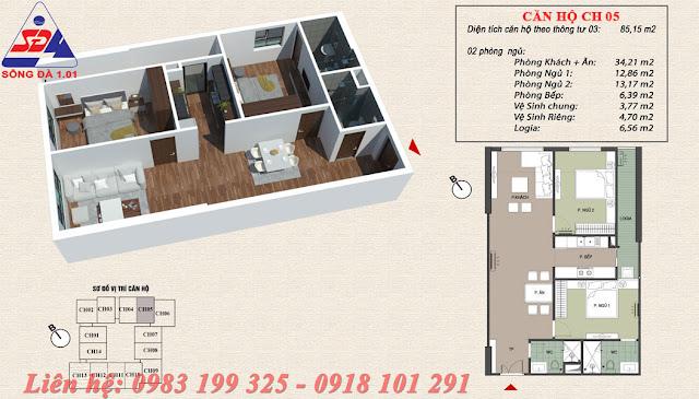 Thiết kế chung cư EcoGreen số 1 Giáp Nhị Căn 05