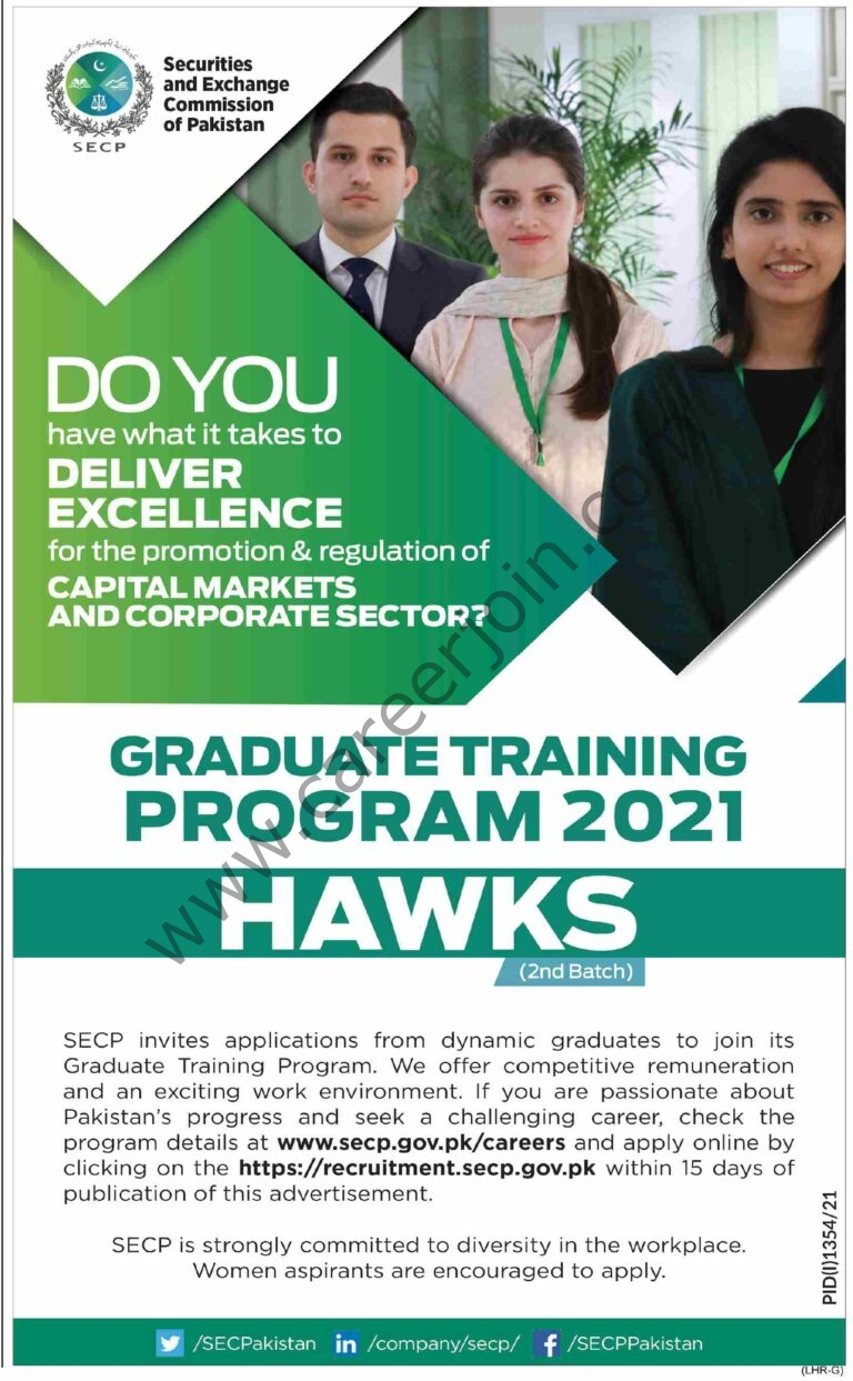 Security and Exchange Commission of Pakistan SECP Graduate Training Program 2021 (HAWKS 2nd Batch)