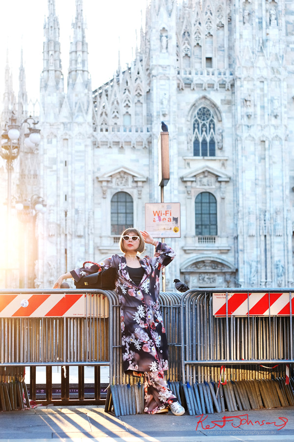 Viv manning the fashion barricades, Duomo, Milan for byfreer, whitecaviarlife first Italian collaboration. Photography by Kent Johnson.