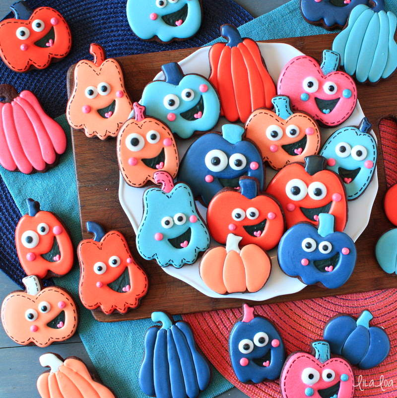 Fun and easy pumpkin decorated sugar cookies for fall and Halloween