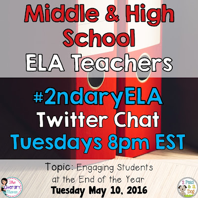 Join secondary English Language Arts teachers Tuesday evenings at 8 pm EST on Twitter. This week's chat will focus on engaging students at the end of the year in the ELA classroom.