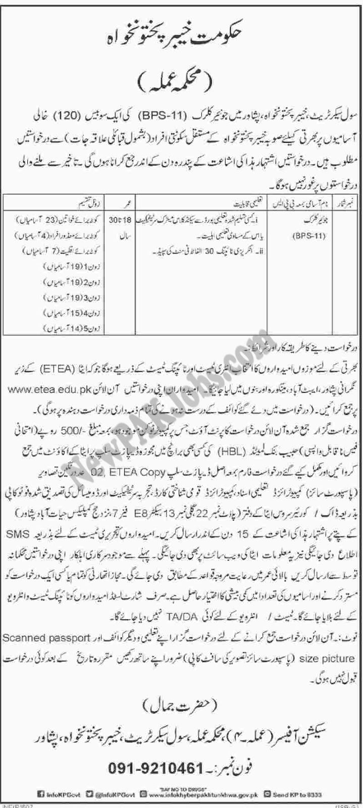 Junior Clerk Jobs, Civil Secretariat KPK,etea.edu.pk (120 Positions)