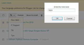 Cara Membuat, Edit Dan Hapus Label Blogger