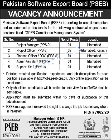 Latest Jobs in Pakistan Software Export Board PSEB  2021