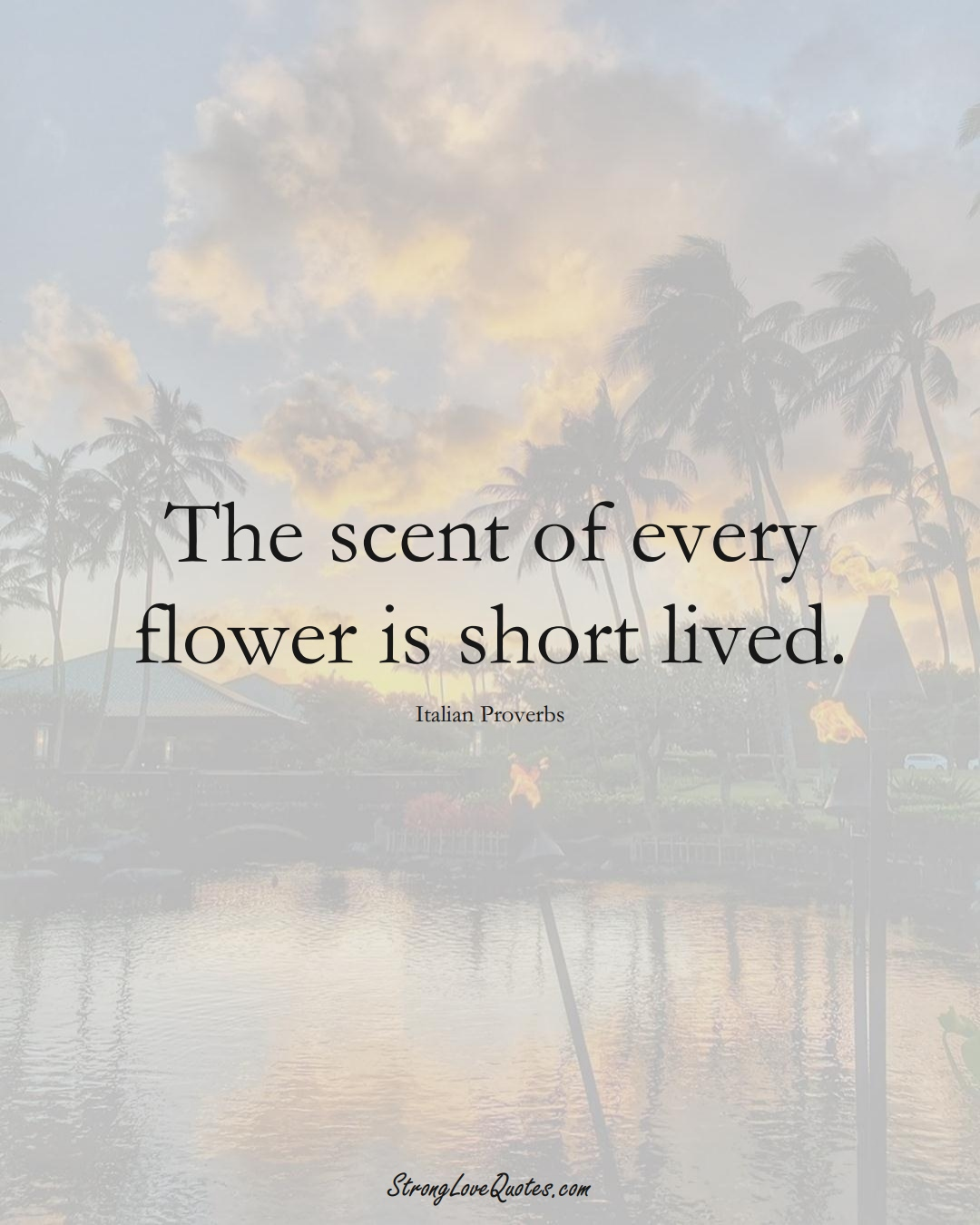 The scent of every flower is short lived. (Italian Sayings);  #EuropeanSayings