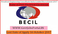 Broadcast Engineering Consultants India Limited Recruitment 2017– Electrical Electrician