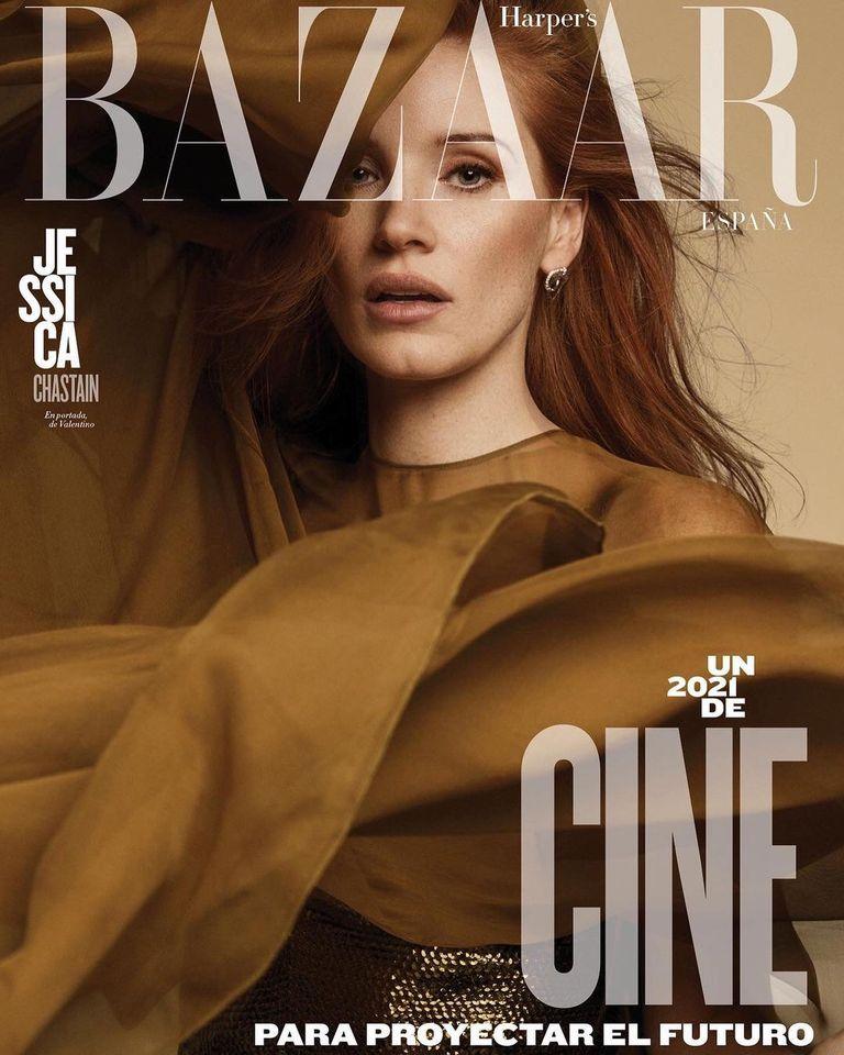 Jessica Chastain is glam for Harper's Bazaar Spain January 2021
