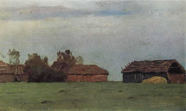 Исаак Ильич Левитан - Пейзаж с постройками. 1890-е