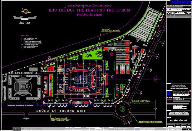 Bản vẽ autocad thiết kế sơ đồ tổng mặt bằng toàn khu  nhà thi đấu Phú Thọ