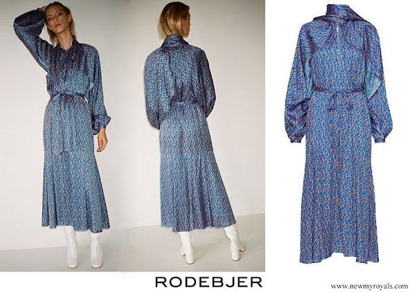 Crown Princess Victoria wore a new blue printed midi dress by Rodebjer.