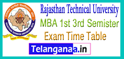 RTU Rajasthan Technical University MBA 1st 3rd Semister Exam Time Table 2018